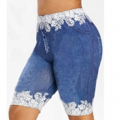 lovely Casual Patchwork Blue Plus Size Shorts
