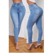 lovely Casual Basic Baby Blue Jeans