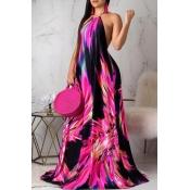 Lovely Stylish Print Red Plus Size Dress