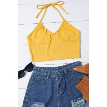 Lovely Trendy Lace-up Yellow Camisole