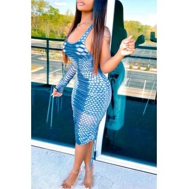 Lovely Trendy U Neck Print Blue Knee Length Dress