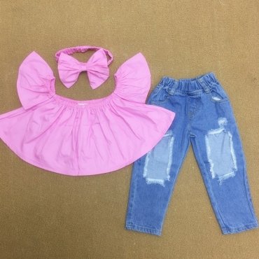Lovely Sweet Flounce Design Pink Girl Two-piece Pants Set