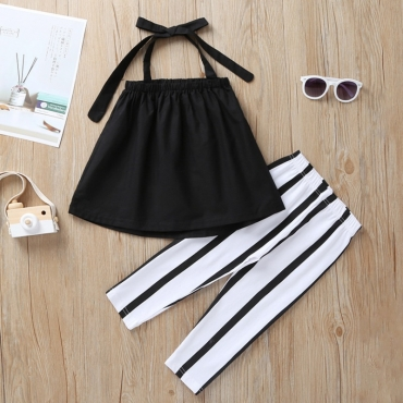 Lovely Trendy Lace-up Black Girl Two-piece Pants Set