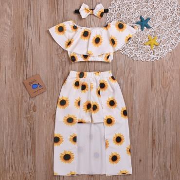 Lovely Trendy Print White Girl Two-piece Skirt Set