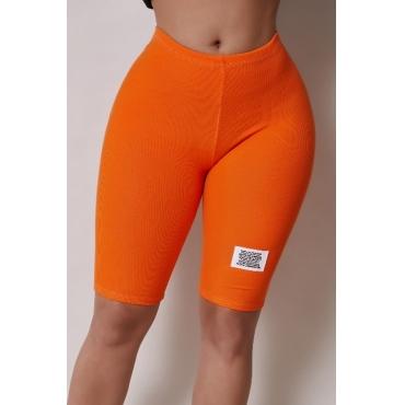 Lovely Casual Basic Skinny Orange Shorts