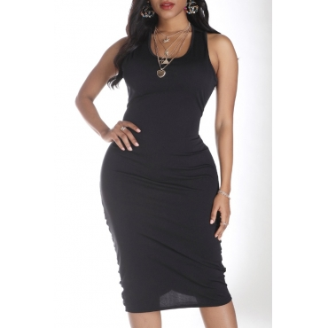Lovely Leisure Skinny Black Knee Length Dress
