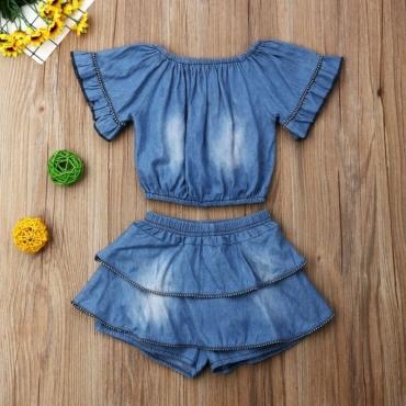 Lovely Sweet Layered Cascading Ruffle Deep Blue Girl Two-piece Shorts Set
