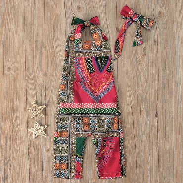 Lovely Bohemian Print Rose Red Gril One-piece Jumpsuit