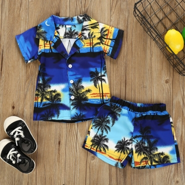 Lovely Casual Plants Print Deep Blue Boy Two-piece Shorts Set