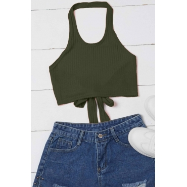 Lovely Casual Lace-up Army Green Camisole