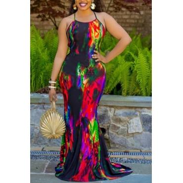 Lovely Trendy Tie-dye Black Maxi Dress