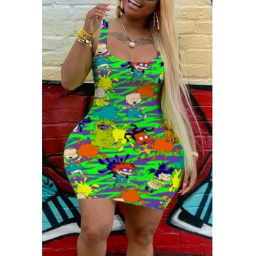 Lovely Casual Cartoon Print Green Mini Plus Size Dress