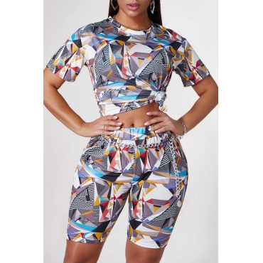 Lovely Casual Print Multicolor Two-piece Shorts Set