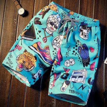 Lovely Stylish Cartoon Print Blue Shorts