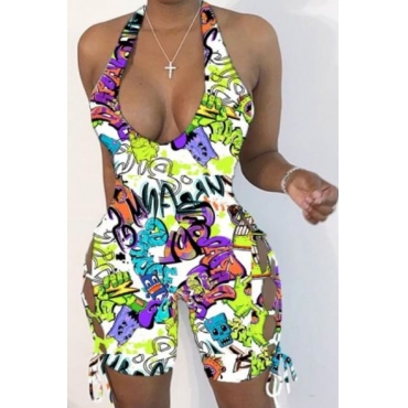 Lovely Leisure Cartoon Print Multicolor One-piece Romper