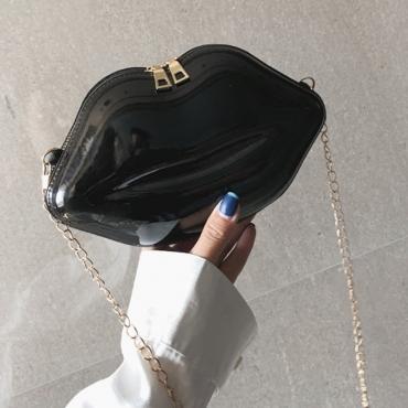 Lovely Trendy Lip Black Crossbody Bag