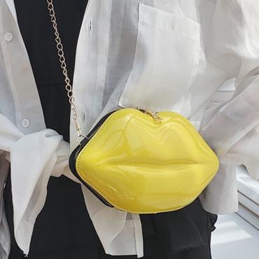 Lovely Trendy Lip Yellow Crossbody Bag