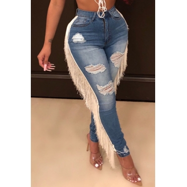 Lovely Trendy Tassel Design Blue Jeans