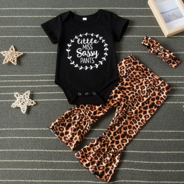 Lovely Casual Letter Black Girl Two-piece Pants Set