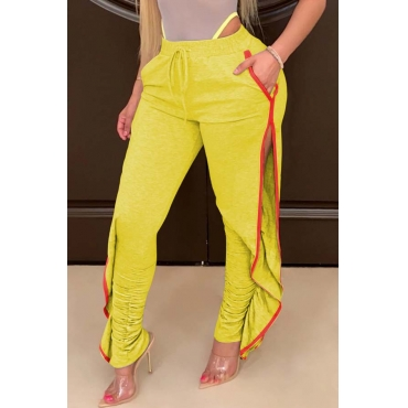Lovely Casual Side High Slit Yellow Pants