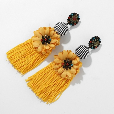 Lovely Bohemian Tassel Design Yellow Earring