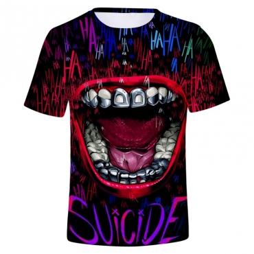 Lovely Stylish O Neck Print Black T-shirt