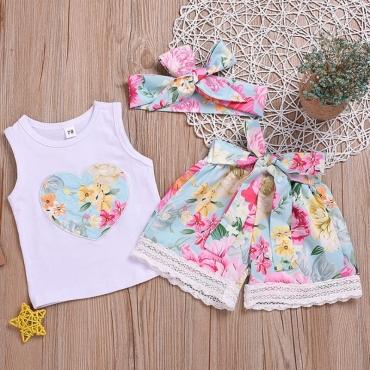 Lovely Stylish Print White Girl Two-piece Shorts Set
