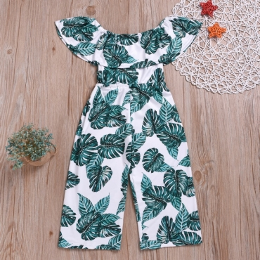 Lovely Bohemian Plants Print Green Girl One-piece Jumpsuit