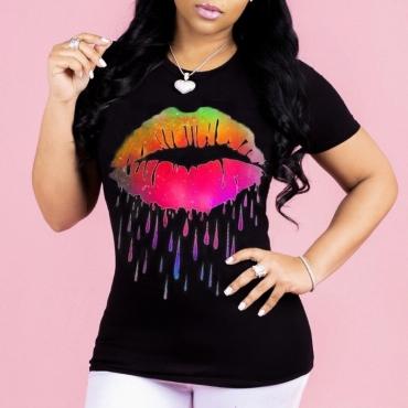 Lovely Leisure O Neck Lip Print Black T-shirt