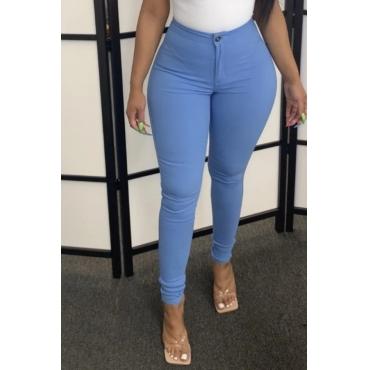 Lovely Casual Basic Skinny Blue Pants