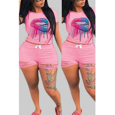 lovely Leisure Print Pink Plus Size Two-piece Shorts Set