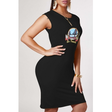 lovely Leisure O Neck Print Black Knee Length Dress