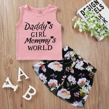 lovely Sweet Letter Print Pink Girl Two-piece Shorts Set