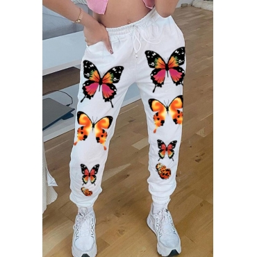 Lovely Casual Butterfly Print White Pants