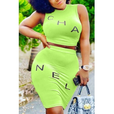 Lovely Casual Letter Green Two-piece Skirt Set