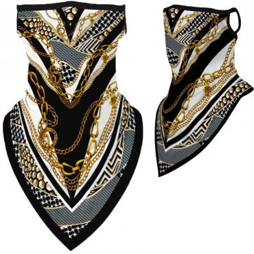 Lovely Sportswear Print Gold Face Mask