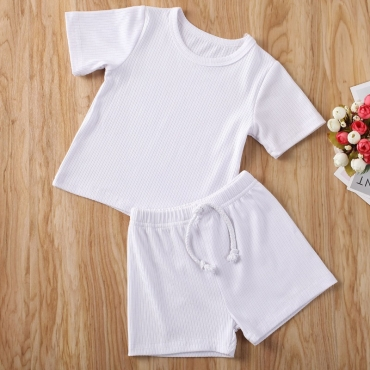 lovely Casual O Neck Lace-up White Boy Two-piece Shorts Set