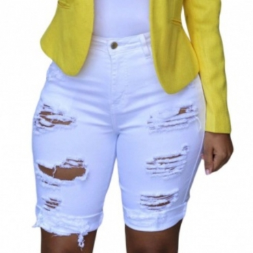 Lovely Casual Hollow-out White Shorts