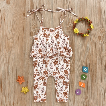 lovely Sweet Floral Print White Girl One-piece Jumpsuit