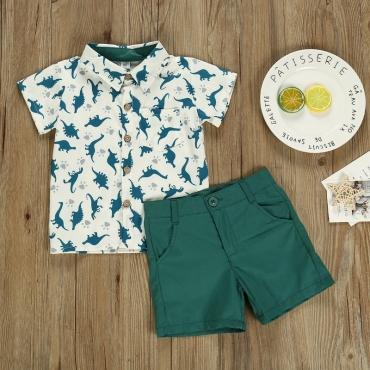 lovely Stylish Print Green Boy Two-piece Shorts Set