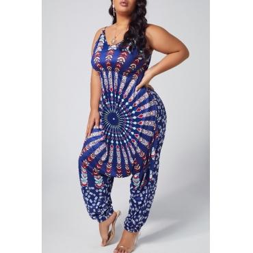 Lovely Ethnic Print Navy BluePlus Size One-piece Jumpsuit