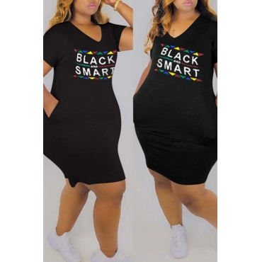 Lovely Casual Letter Print Black Knee Length Plus Size Dress