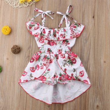lovely Leisure Floral Print White Girl One-piece Romper