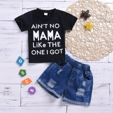 lovely Leisure Letter Print Black Boy Two-piece Shorts Set