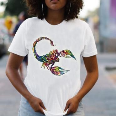 lovely Street O Neck Print White T-shirt