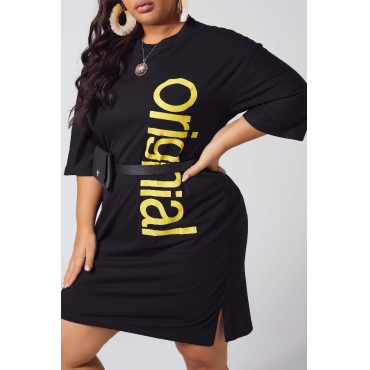 lovely Leisure O Neck Letter Black Knee Length Plus Size Dress