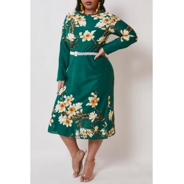 lovely Bohemian O Neck Plants Print Green Mid Calf Plus Size Dress