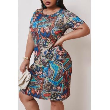 lovely Casual Print Multicolor Mini Plus Size Dress