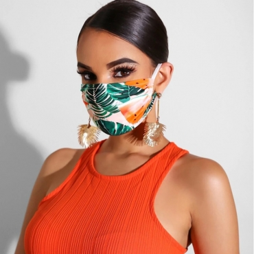 Lovely Casual Print Green Face Mask