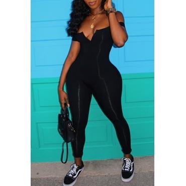 lovely Stylish Skinny Black Plus Size One-piece Jumpsuit